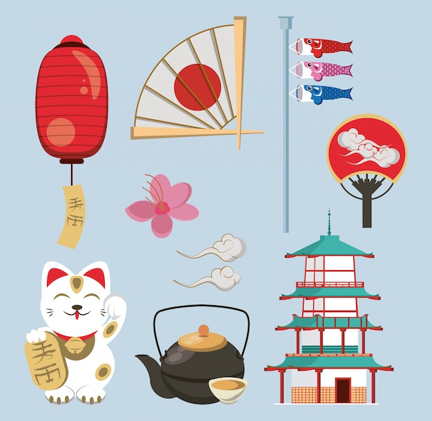Japanese architecture and elements Premium Vector