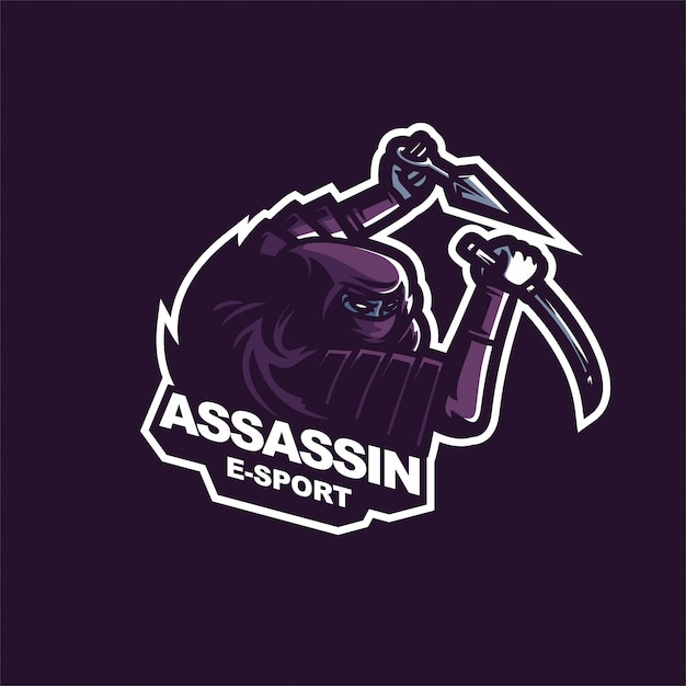 Japanese assassin e-sport gaming mascot logo template Premium Vector