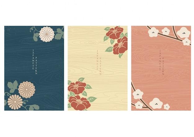 Японская предпосылка с вектором элементов цветка. деревянная текстура в азиатском дизайне. Premium векторы