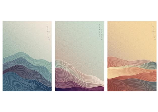 라인 웨이브 패턴으로 일본 배경입니다. 기하학적 패턴으로 추상 템플릿입니다. 프리미엄 벡터
