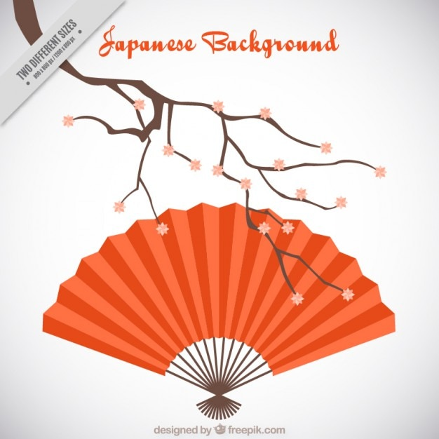 Japanese background with a red fan Free Vector
