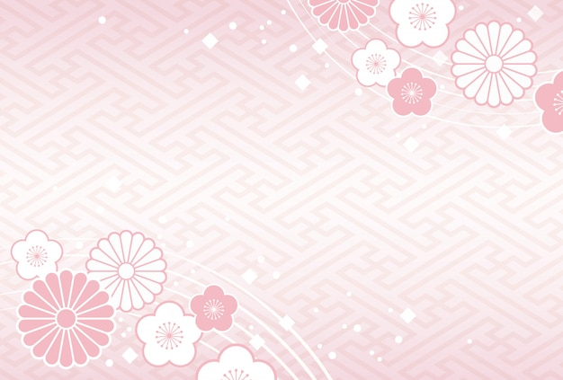 Japanese background with traditional celebration flowers and plants Premium Vector