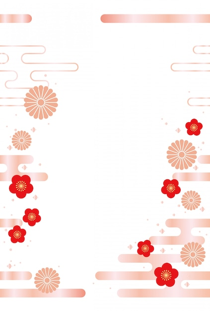 Japanese background with traditional flowers and clouds Premium Vector