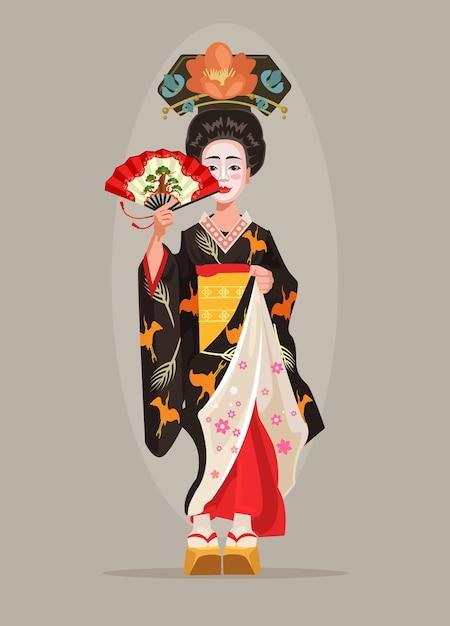 日本の美しい芸者のキャラクターは、フラットな漫画イラストを保持します Premiumベクター