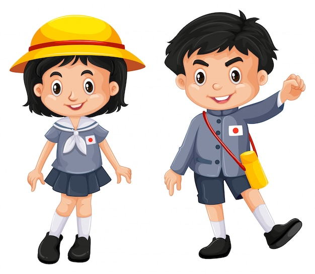 Japanese boy and girl in school uniform Free Vector