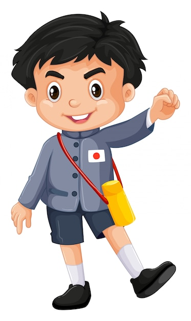 Free Vector Japanese Boy In Kindergarten Outfit