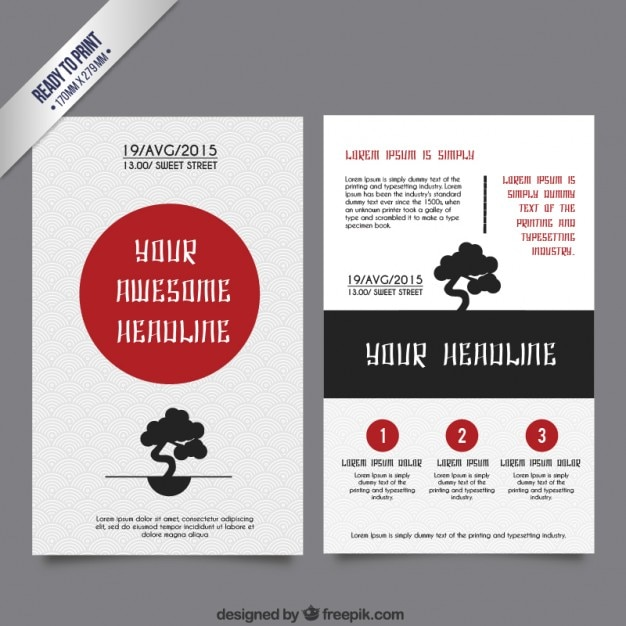 Japanese brochure template Free Vector