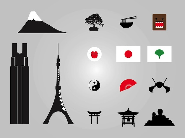 Japanese building architecture vector\ icons