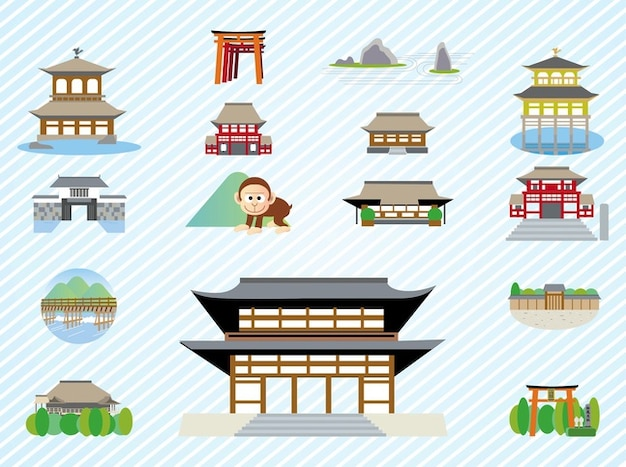 Japanese building architecture vector\ pack