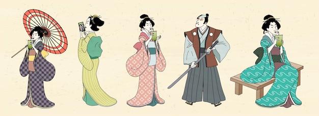 Japanese characters  in ukiyo-e style, geisha and kabuki Premium Vector