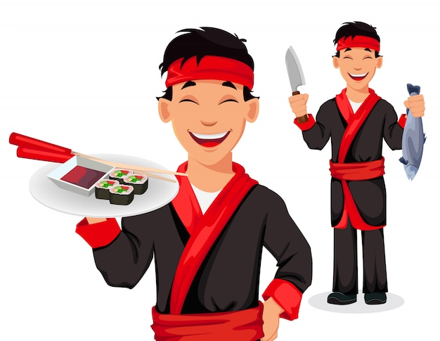 Japanese chef cooking sushi rolls Premium Vector