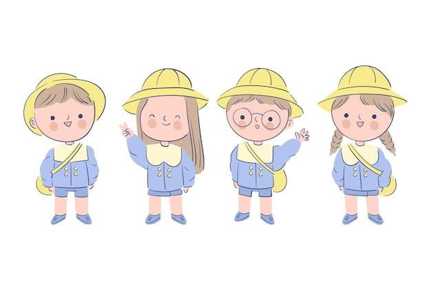 制服を着た日本の子供 無料ベクター