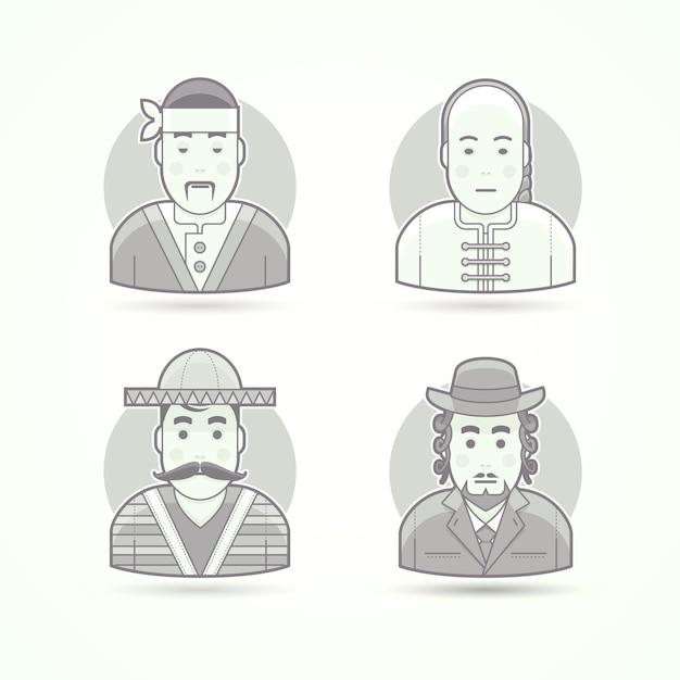 日本のコック、アジアのチーフ、メキシコ市民、ユダヤ人の正統派の男性。キャラクター、アバター、人のイラストのセットです。黒と白のアウトラインスタイル。 Premiumベクター