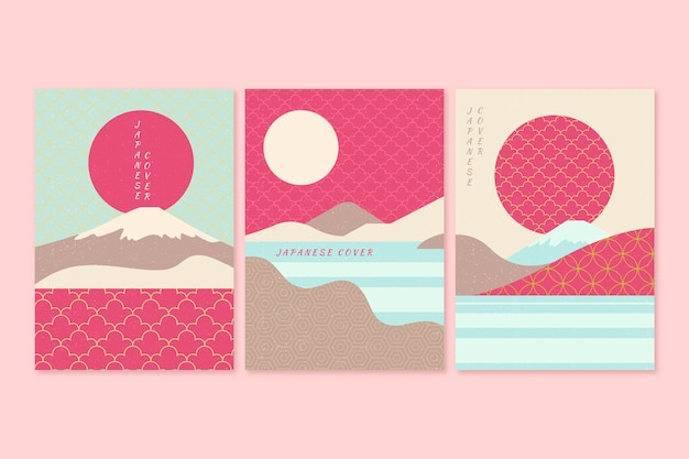 Japanese cover collection in pink and blue tones Free Vector