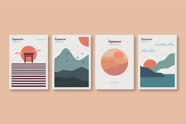 Japanese cover collection with minimalist sunny day Free Vector