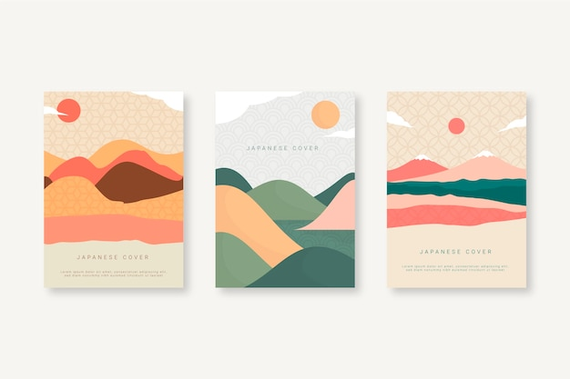 Japanese cover collection with sun and hills Free Vector