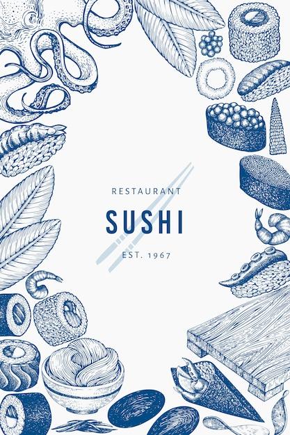 Japanese cuisine background template Premium Vector
