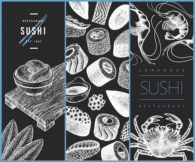 Дизайн японской кухни. суши рисованной иллюстрации на доске мелом. Premium векторы