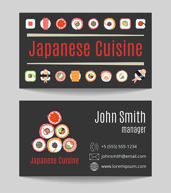 Japanese cuisine restaurant black business card both sides Premium Vector