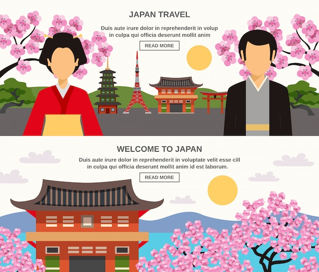 Japanese culture 2 horizontal banners set Free Vector