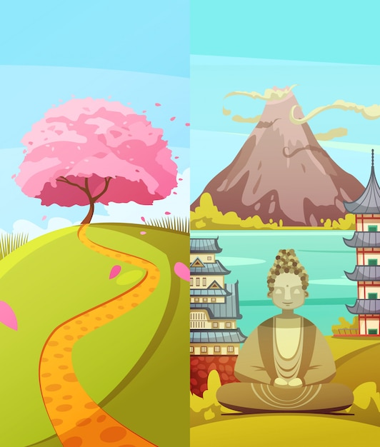 Japanese culture 2 vertical retro cartoon banners set with cherry blossom fuji mountain Free Vector