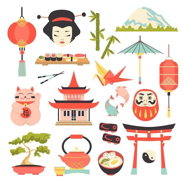 日本文化のアイコンを設定します。 Premiumベクター