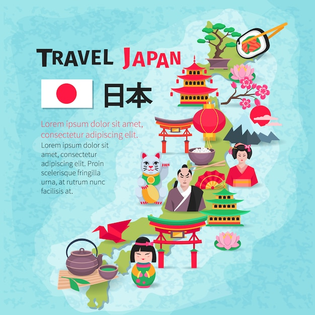 Japanese culture and national symbols with country map and flag for travelers flat poster abstract Free Vector