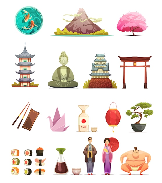 Japanese culture traditions cuisine retro cartoon icons collection with cherry blossom bonsai Free Vector