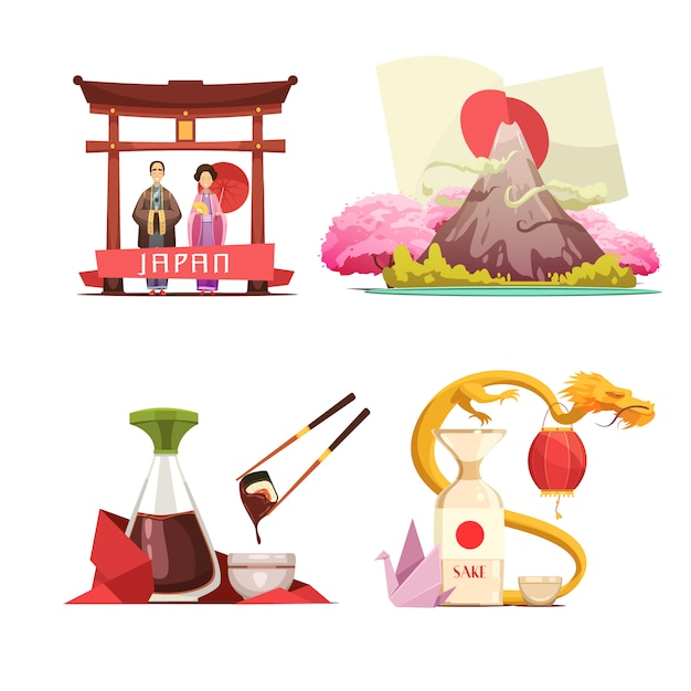 Japanese culture traditions for travelers 4 retro cartoon square composition with sushi and sake iso Free Vector