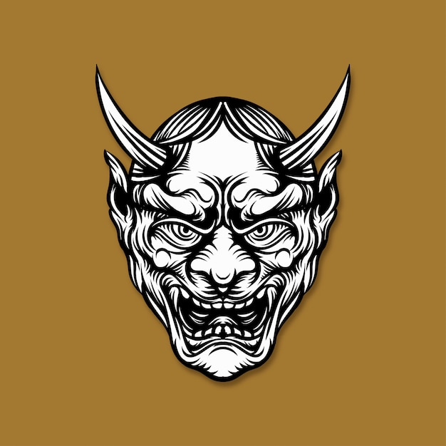 Japanese demon mask illustration Premium Vector