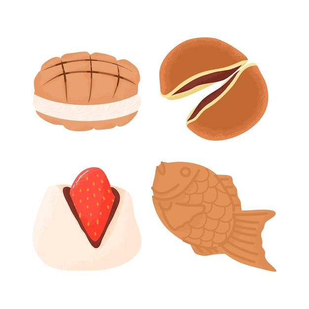 Японские десерты и сладости угощения еда тайяки, дораяки, клубничный моти и сковорода для дыни Premium векторы