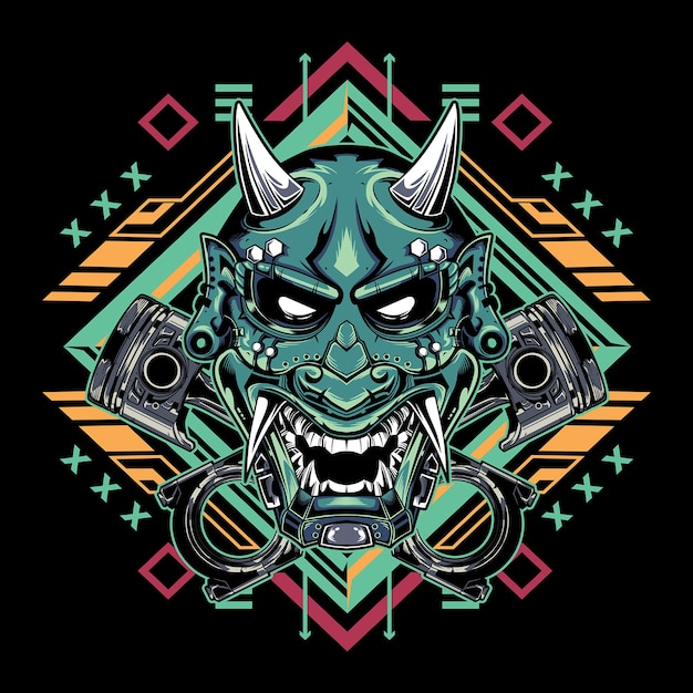 Japanese devil mask hannya with piston emblem Premium Vector