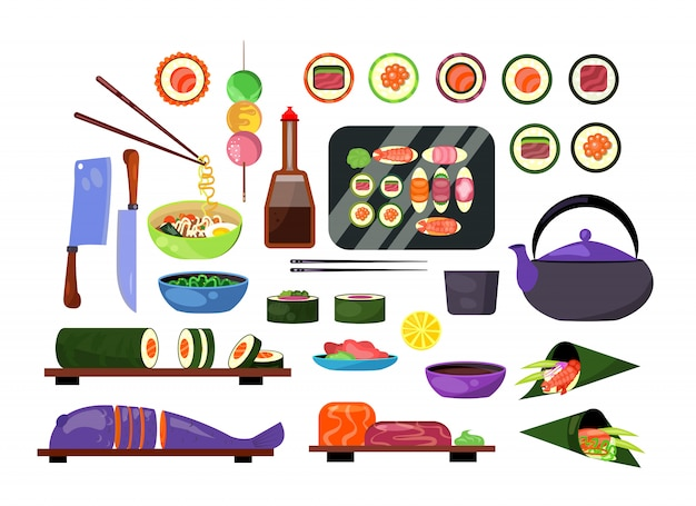 Japanese dishes set Free Vector