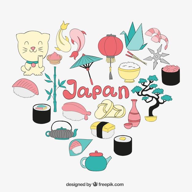 Japanese elements illustration Free Vector