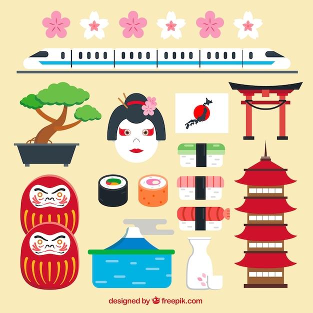 Japan Design | Japanese Elements In Flat Design Vector Free Download