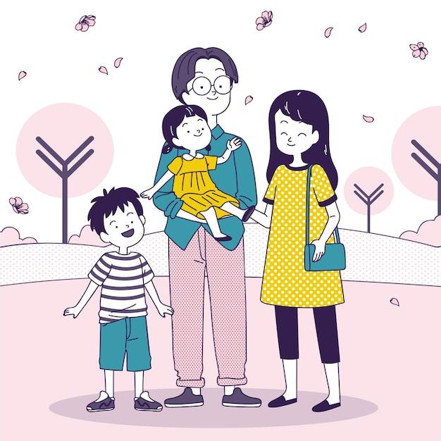 日本の散歩を楽しむ日本人家族 無料ベクター