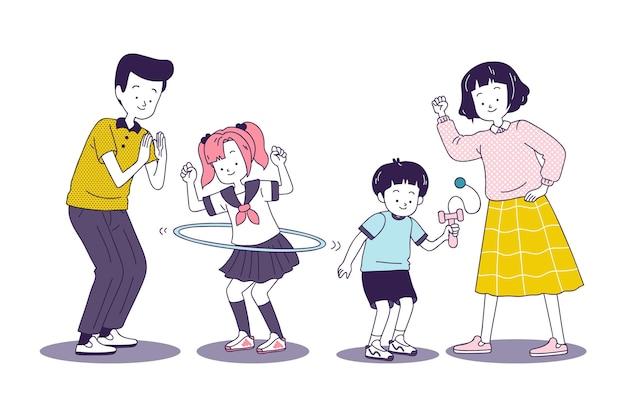 日本の家族が一緒にゲームをプレイ 無料ベクター