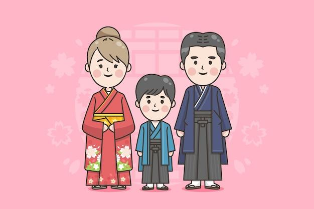 Famiglia giapponese con abiti tradizionali Vettore gratuito