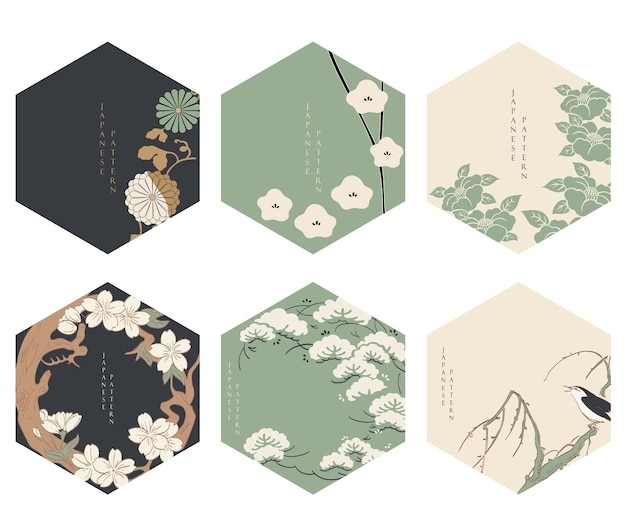 Japanese floral background vector. asian icons and symbols. vintage traditional template design. abstract pattern and template. geometric icon and logo design set with hand draw tree element. Premium Vector
