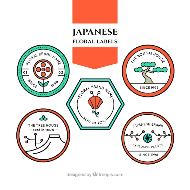 Japanese floral labels in linear style Free Vector