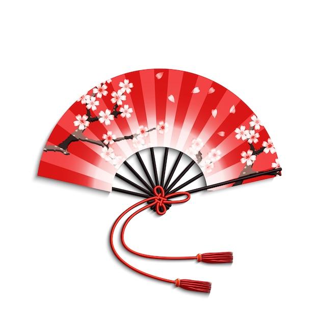 Japanese folding fan Free Vector