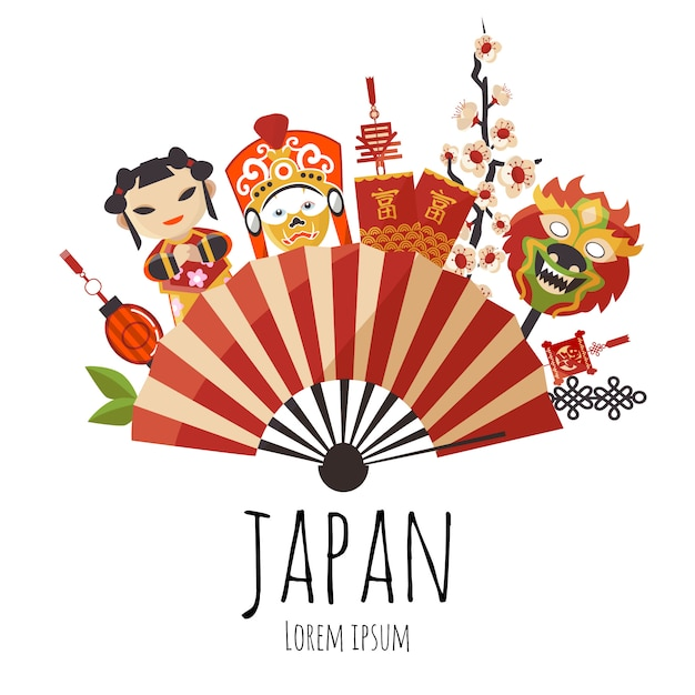 Japanese folding red and golden stripped fan with cherry blossom, dolls and masks Premium Vector