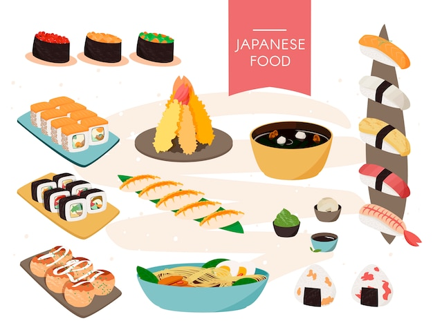 Japanese food collection. vector realistic set of sushi, soups etc. Premium Vector
