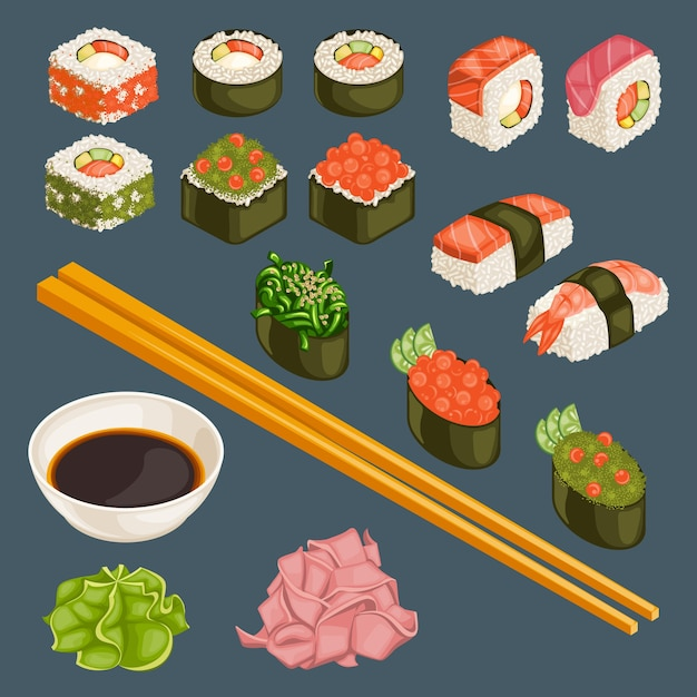 Raccolta di cibo giapponese Vettore gratuito
