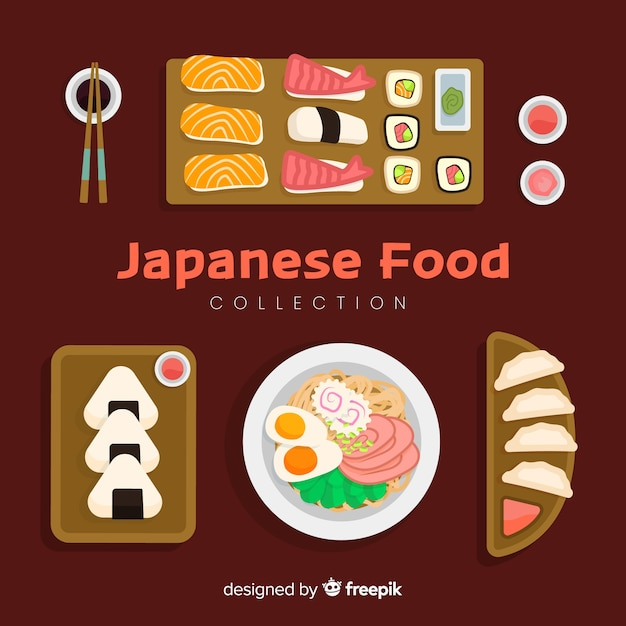 Japanese food collection Free Vector