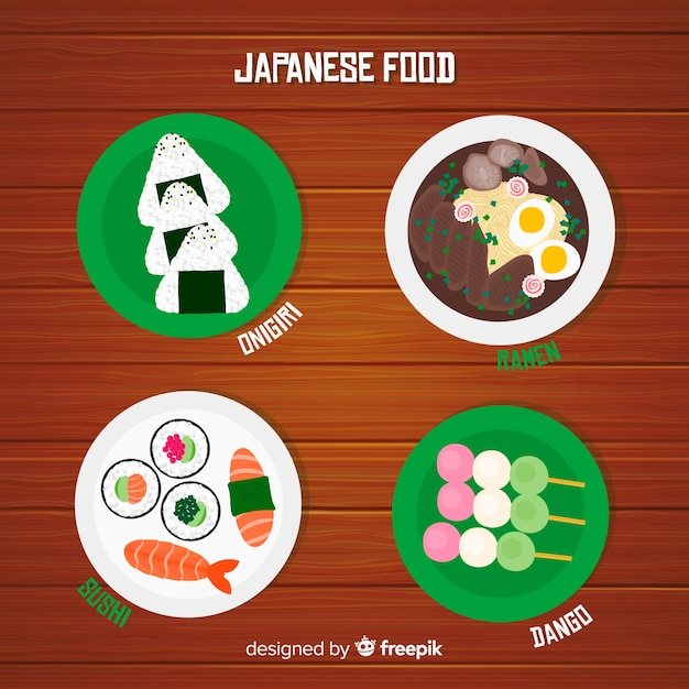 Japanese food dishes set Free Vector