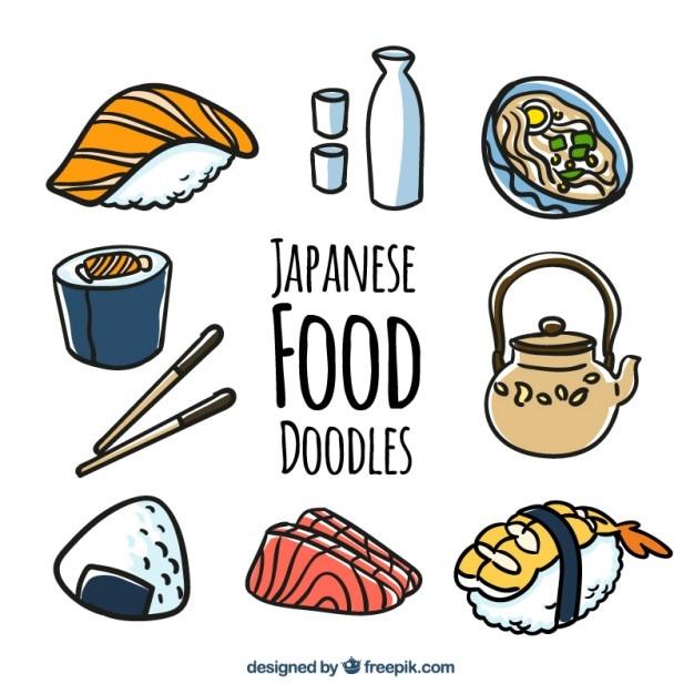 Japanese Food Doodles Vector Free Download