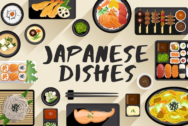 Japanese food  food illustration in top view  vector illustration Premium Vector