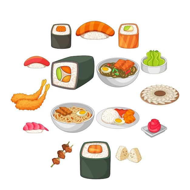 Japanese food icons set, cartoon style Premium Vector