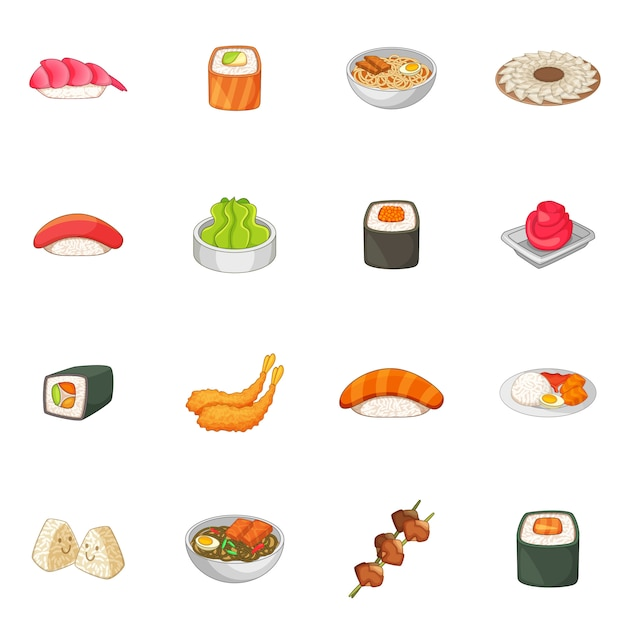 Japanese food icons set Premium Vector